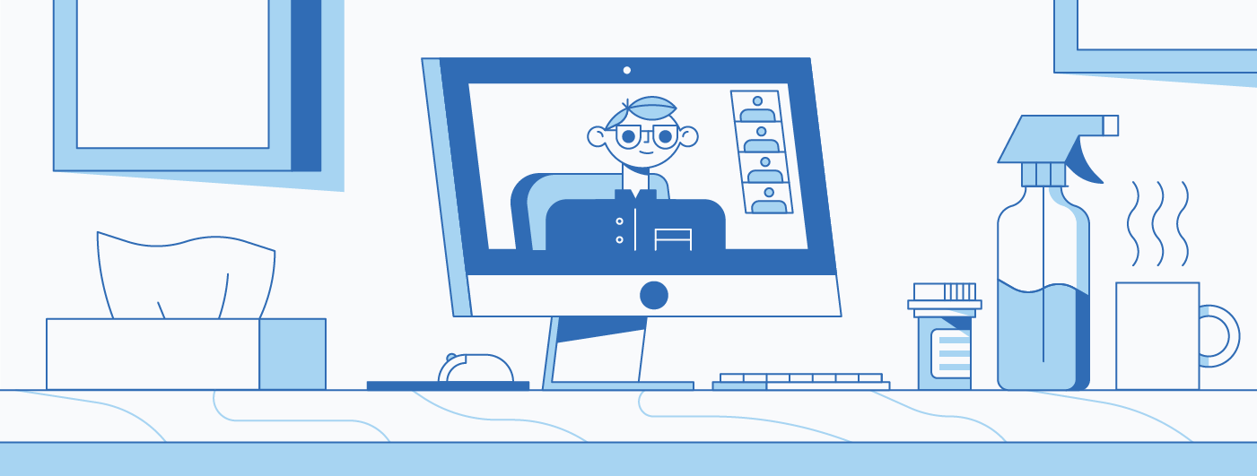employee working remotely illustration