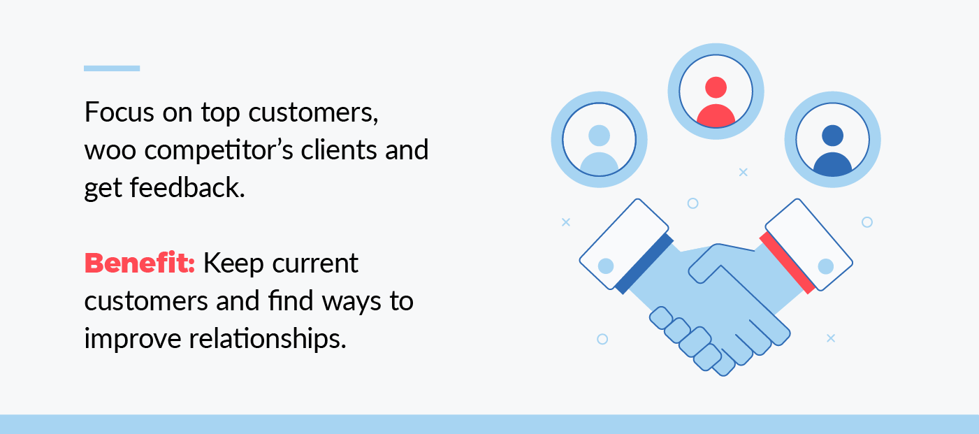 focus on top customers, woo competitor's clients and get feedback