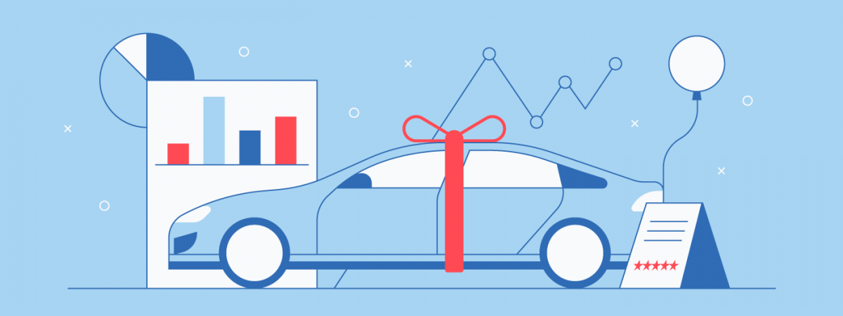 car illustration with charts