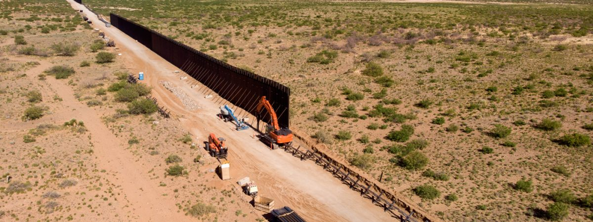aerial picture of border wall construction