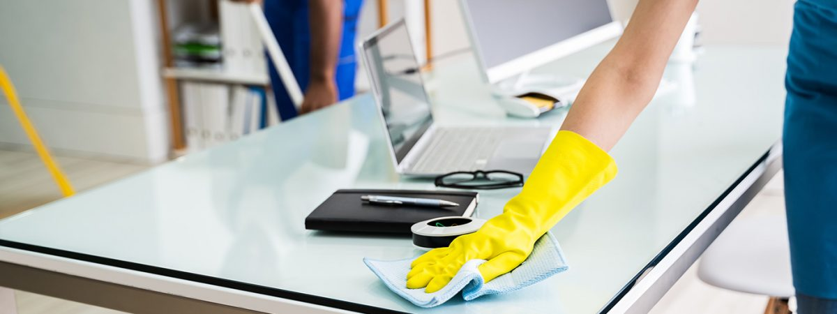 janitorial staff cleaning surfaces